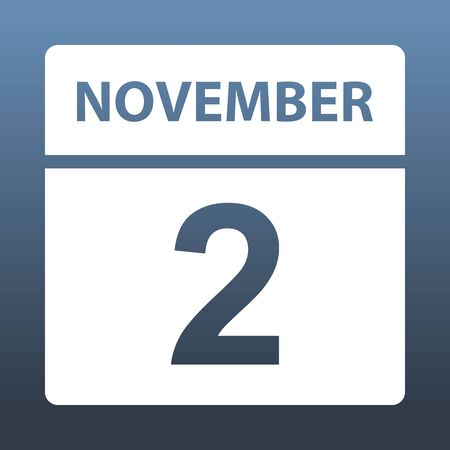 November 2. White calendar on a colored background. Day on the calendar. Second of november. Blue gray background with gradient. Vector illustration.