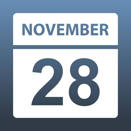 November 28. White calendar on a colored background. Day on the calendar. Twenty-eighth of november. Blue gray background with gradient. Vector illustration.