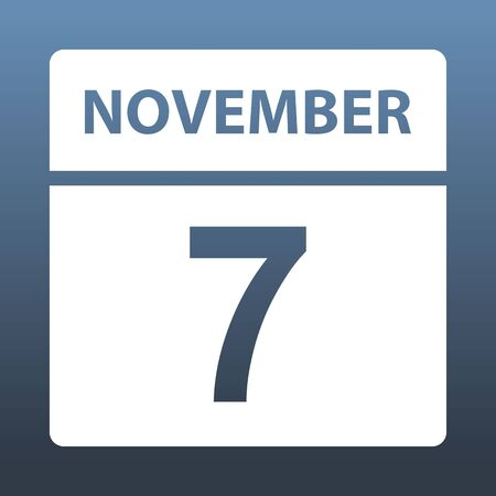 November 7. White calendar on a colored background. Day on the calendar. Seventh of november. Blue gray background with gradient. Vector illustration.