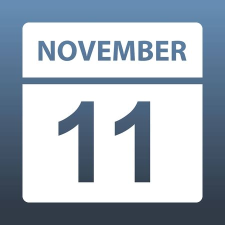 November 11. White calendar on a colored background. Day on the calendar. Eleventh of november. Blue gray background with gradient. Vector illustration.