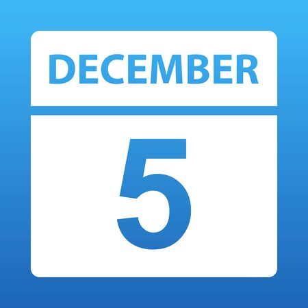 December 5. White calendar on a colored background. Day on the calendar. Fifth of december. Blue background with gradient. Vector illustration. Imagens - 129148334