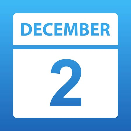 December 2. White calendar on a colored background. Day on the calendar. Second of december. Blue background with gradient. Vector illustration.