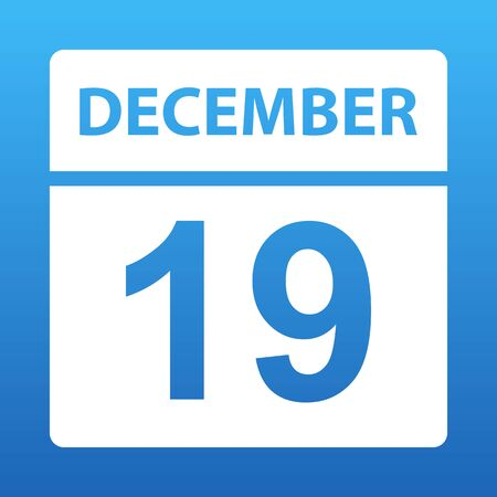 December 19. White calendar on a colored background. Day on the calendar. Nineteenth of december. Blue background with gradient. Vector illustration. Ilustração