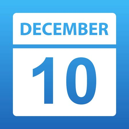 December 10. White calendar on a colored background. Day on the calendar. Tenth of december. Blue background with gradient. Vector illustration.