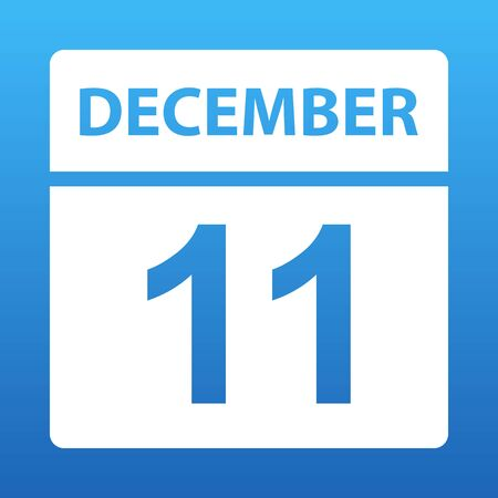 December 11. White calendar on a colored background. Day on the calendar. Eleventh of december. Blue background with gradient. Vector illustration.