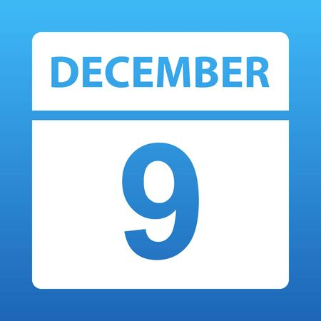 December 9. White calendar on a colored background. Day on the calendar. Ninth of december. Blue background with gradient. Vector illustration.