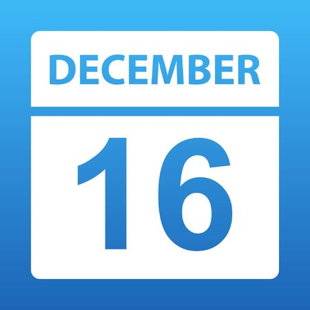 December 16. White calendar on a colored background. Day on the calendar. Sixteenth of december. Blue background with gradient. Vector illustration.