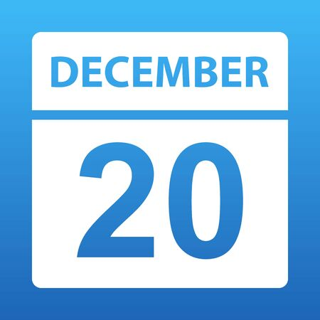 December 20. White calendar on a colored background. Day on the calendar. Twentieth of december. Blue background with gradient. Vector illustration.
