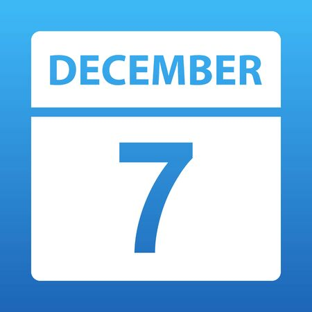 December 7. White calendar on a colored background. Day on the calendar. Seventh of december. Blue background with gradient. Vector illustration.