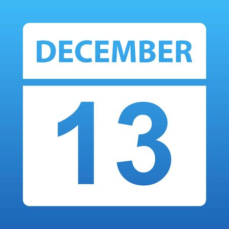 December 13. White calendar on a colored background. Day on the calendar. Thirteenth of december. Blue background with gradient. Vector illustration.