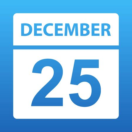 December 25. White calendar on a colored background. Day on the calendar. Twenty fifth of december. Blue background with gradient. Vector illustration.