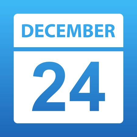 December 24. White calendar on a colored background. Day on the calendar. Twenty-fourth of december. Blue background with gradient. Vector illustration.