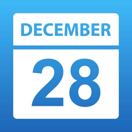 December 28. White calendar on a colored background. Day on the calendar. Twenty-eighth of december. Blue background with gradient. Vector illustration.