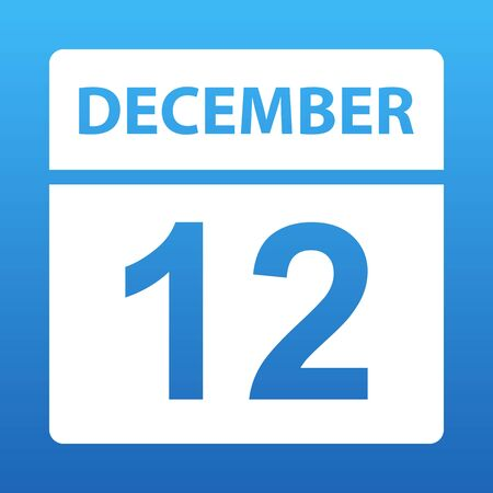 December 12. White calendar on a colored background. Day on the calendar. Twelfth of december. Blue background with gradient. Vector illustration. Ilustração