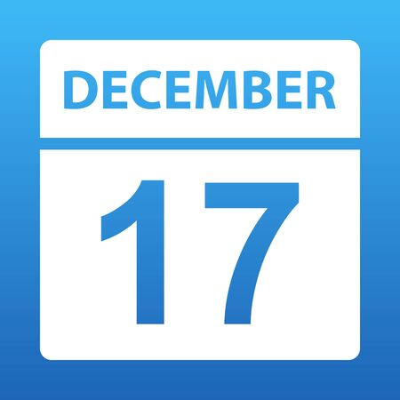 December 17. White calendar on a colored background. Day on the calendar. Seventeenth of december. Blue background with gradient. Vector illustration.