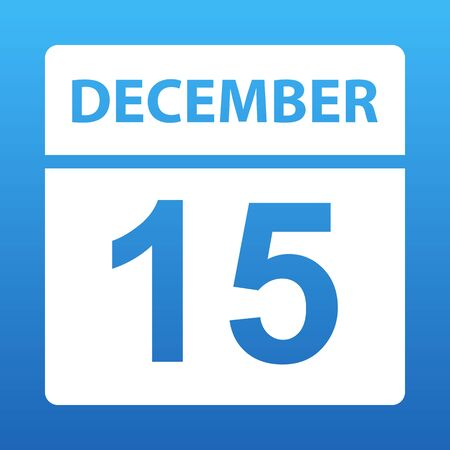 December 15. White calendar on a colored background. Day on the calendar. Fifteenth of december. Blue background with gradient. Vector illustration.
