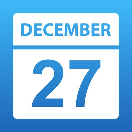December 27. White calendar on a colored background. Day on the calendar. Twenty seventh of december. Blue background with gradient. Vector illustration. Ilustração