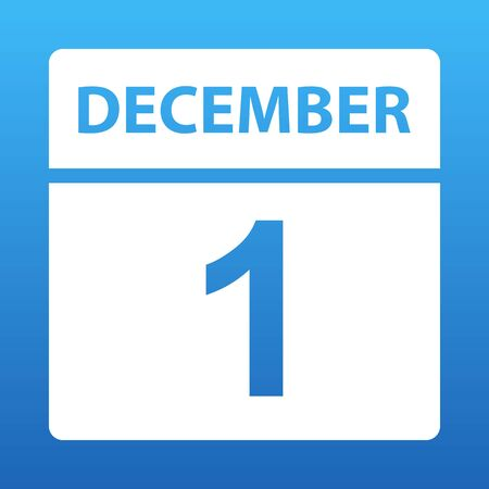December 1. White calendar on a colored background. Day on the calendar. First of december. Blue background with gradient. Vector illustration.