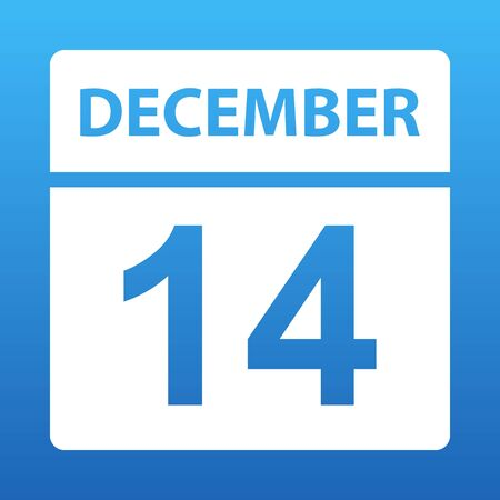 December 14. White calendar on a colored background. Day on the calendar. Fourteenth of december. Blue background with gradient. Illustration.