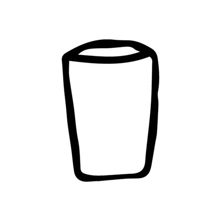 Hand-drawn glass on a white isolated background, vector illustration. Sketch an empty glass. Doodle style.