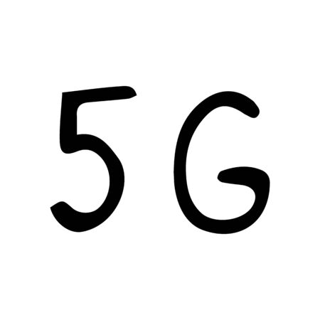 5 g sign. Vector hand-drawn illustration on a white isolated background. Network, internet, connection. Wireless data transfer. 向量圖像