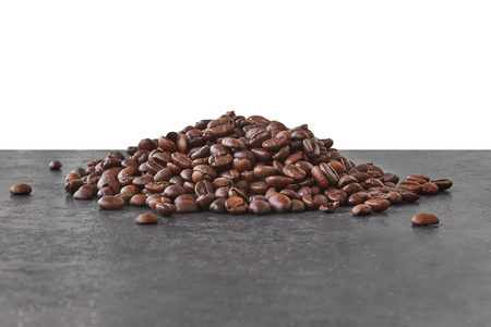 Brown coffee beans on black background - coffee beans Stockfoto