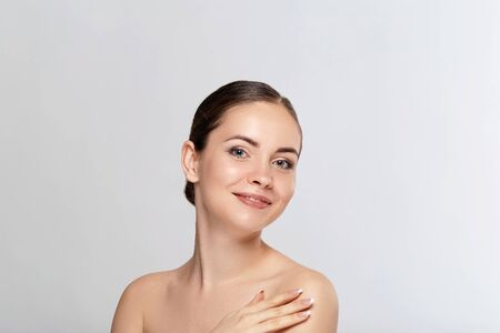 Skin care woman face with healthy beauty skin face closeup cosmetic age concept Zdjęcie Seryjne