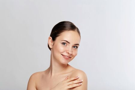 Beautiful Woman Face Portrait Beauty Skin Care Concept. Fashion Beauty Model on white background,