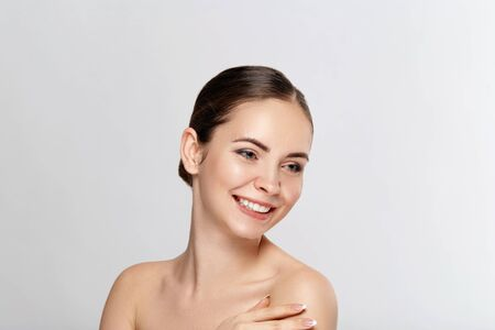 Beautiful woman with nature makeup. Beauty portrait of female face with natural skin. Skin care. Cosmetology, beauty and spa.
