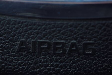 close up of airbag steering wheel symbol, Airbag deployed air cushion during collision