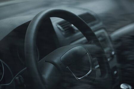 Beautiful leather interior of the modern car Stock Photo