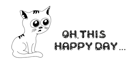 Sad cat in black and white with text