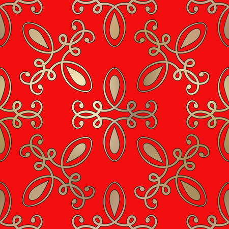 Vector gold seamless pattern on a red background Illustration