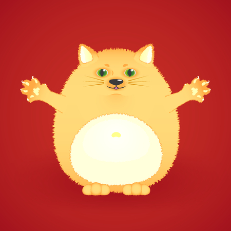 Funny fat ginger cat vector illustration.