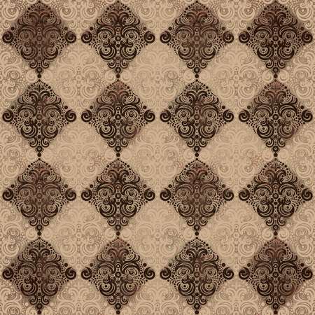 Pattern with rhombus and swirls in vintage style.
