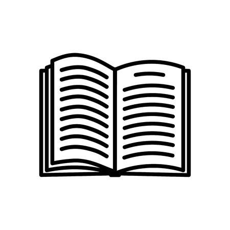 白い背景に分離されたブックアイコンを開き、フラットなスタイルでブックシンボル。マガジン アイコンを開きます。辞書記号。ベクトルイラスト
