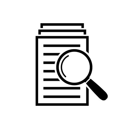 Serch documents icon, Magnifying glass and page sign in flat style. Vector illustration for web site, mobile application. Ilustracja
