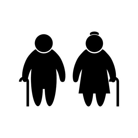 Elder people icon in flat style