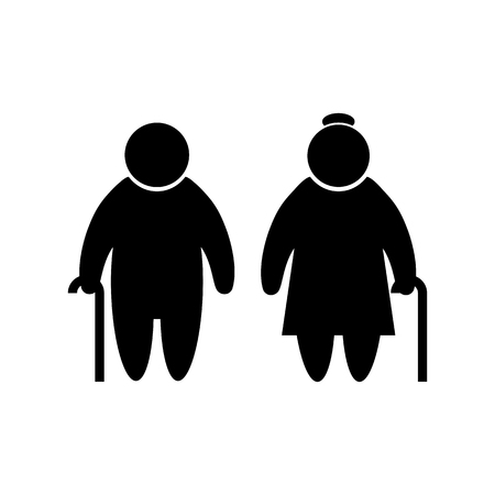 Elder people icon in flat style