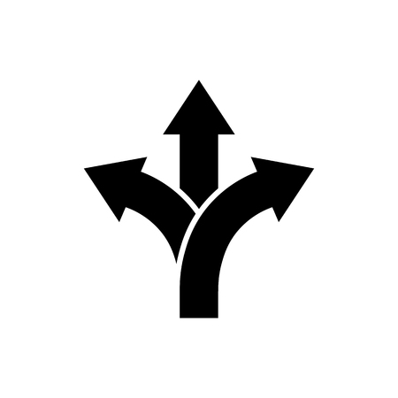 Three-way direction arrow icon in flat style. Road direction symbol isolated on white background Simple choice icon in black Vector illustration for graphic design, Web, UI, mobile upp
