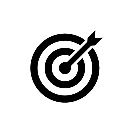 Target Icon in flat style. Aim symbol isolated on white background. Simple abstract drawing icon in black. Vector illustration for graphic design, Web site, UI. Illustration