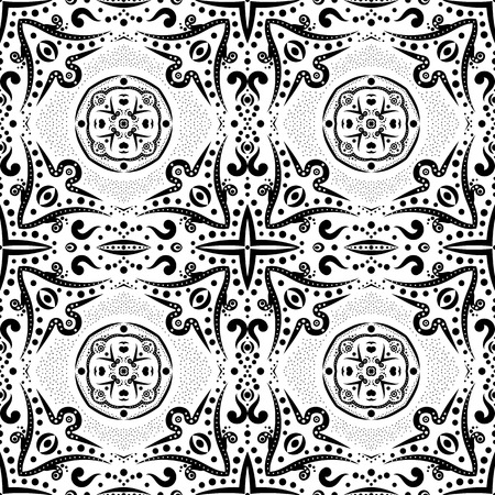 Seamless pattern with swirls and dots Illustration