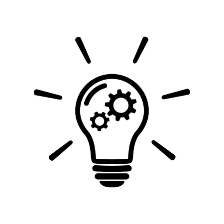 innovation concept icon in flat style. Light bulb with gear mechanism line sign -Bulb with gear icon. Simple process sign. Idea symbol. Implementation icon. Vector illustration for graphic design, Web