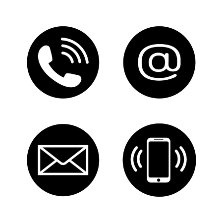Contact icons in flat style Vectores