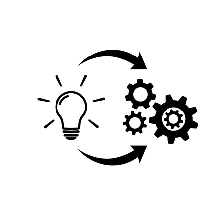 Light bulb with gear and circulating arrows icon Иллюстрация