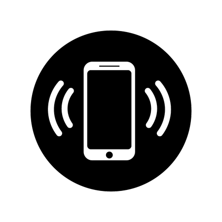 Ringing phone icon in circle. Mobile call icon