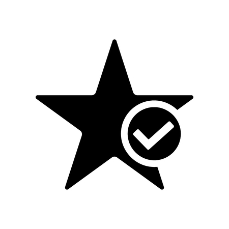 Star favorite icon in flat style. Star with tick symbol isolated on white background. Simple star abstract icon in black. Vector illustration for graphic design, Web, UI, app