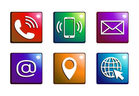 Kontakt ikony na kolorowe przyciski w stylu płaski. Telefon, poczta, telefon komórkowy, e-mail, adres i zestaw ikon internetowych na białym tle. Kolorowe symbole kontaktowe. Zestaw ikon streszczenie. Ilustracja wektorowa