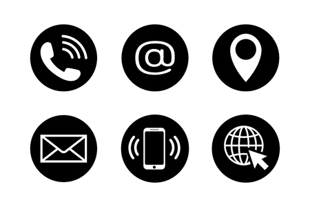 Contact icons in black circles in flat style. Telephone, mail, mobile phone, email, location and web icon set isolated on white background. Contact symbols. Abstract icon set. Vector illustration Illustration