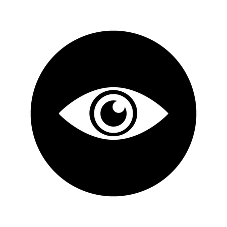 Eye icon in white on black circle .Simple black eye symbol in flat style isolated on white background. Simple eye vector abstract icon for web site design or button to mobile app. Vector illustration.